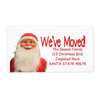 Santas etikett för vi har flyttatjul fraktsedel