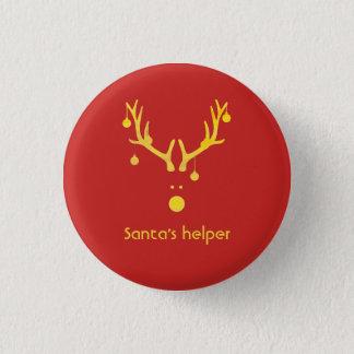 Santas huvud för ren för hjälpreda modernt på rött mini knapp rund 3.2 cm