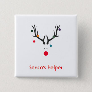 Santas huvud för ren för hjälpreda modernt på vit standard kanpp fyrkantig 5.1 cm