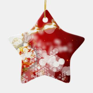 Santas ren stjärnformad julgransprydnad i keramik
