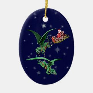 Santas Sleigh med drakar Ovalformad Julgransprydnad I Keramik