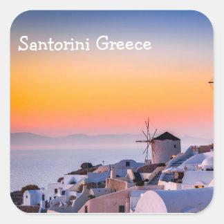 Santorini Grekland Fyrkantigt Klistermärke