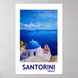 Santorini Grekland - Retro stilaffisch II Poster