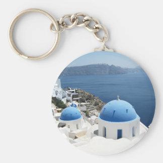 Santorini Grekland Rund Nyckelring