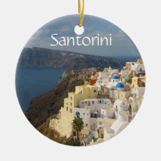 Santorini i eftermiddagsolen julgransprydnad keramik