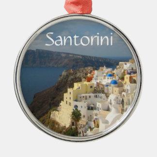 Santorini i eftermiddagsolen julgransprydnad metall