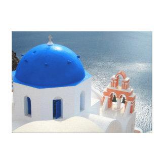 Santorini kyrka i eftermiddagsolen canvastryck