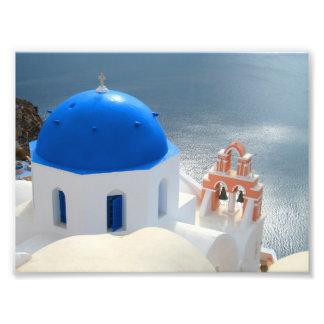 Santorini kyrka i eftermiddagsolen fototryck