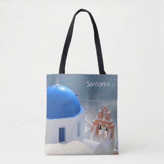 Santorini kyrka i eftermiddagsolen tygkasse