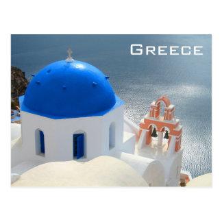 Santorini kyrka i eftermiddagsolen vykort