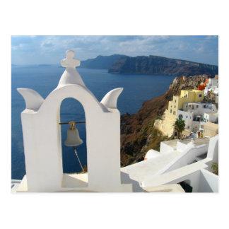 Santorini sätta en klocka på torn i vykort