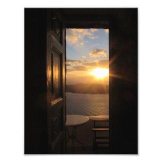 Santorini solnedgång fototryck