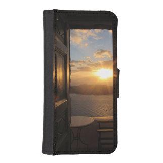Santorini solnedgång till och med dörr iPhone SE/5/5s plånbok