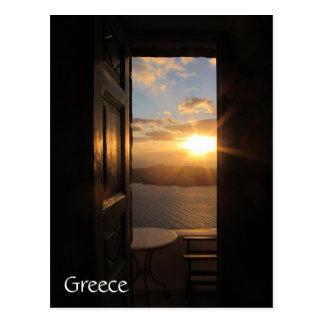 Santorini solnedgång till och med dörr vykort