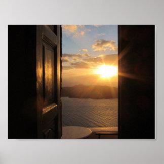 Santorini solnedgångaffisch poster