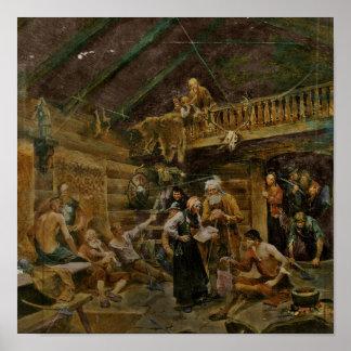Sårada Vikings från strid av Stiklestad Affischer