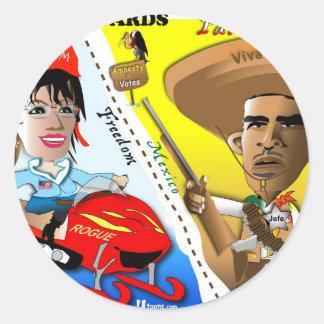 Sarah Palin och Obama gränsbevakning Runt Klistermärke