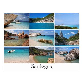 Sardinia sätter på land collagetextvykortet vykort