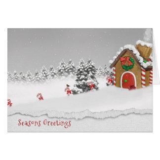 SäsongHälsning-pepparkaka hus i snö Hälsningskort