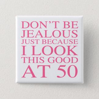 Sassy 50th födelsedag för kvinnor standard kanpp fyrkantig 5.1 cm