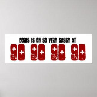 Sassy 90:e namn för födelsedagsfestbaneranpassning posters