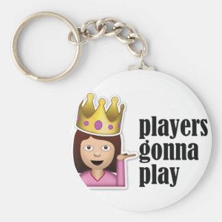 Sassy flicka Emoji - spelare som går att leka Rund Nyckelring