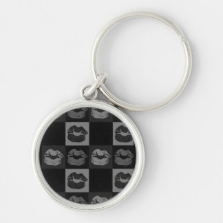 Sassy läppar för svart silver rund silverfärgad nyckelring