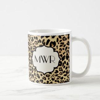 Sassy Monogrammed Leopardtryck Kaffemugg
