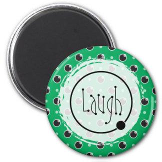 Sassy polka dotsskrattmagnet - grönt magnet