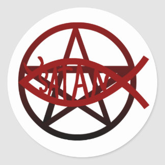 Satan fisk (klistermärken) runt klistermärke
