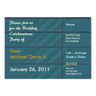 Satängblått med tar prov text 12,7 x 17,8 cm inbjudningskort