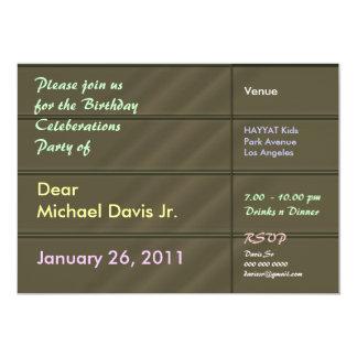 Satänglyxgrönt med tar prov text 12,7 x 17,8 cm inbjudningskort