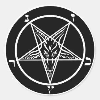 Satanic Baphomet för svart metall klistermärkear Runt Klistermärke
