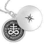 Satanic kor med hagelSatan text och Pentagrams Anpassningsbara Smycken