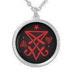 Satanic ockult Sigil av Lucifer Halsband Med Rund Hängsmycke