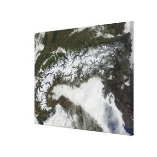 Satellit- avbilda av alpernabergskedjan canvastryck