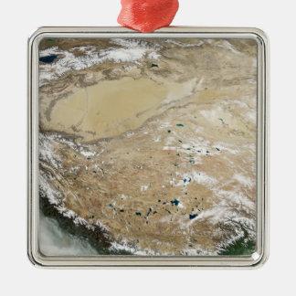 Satellit- beskåda av den tibetana platån julgransprydnad metall