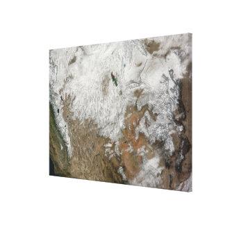 Satellit- beskåda av det westerna Unitedet States Canvastryck
