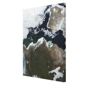 Satellit- beskåda av Northwest Kanada Canvastryck