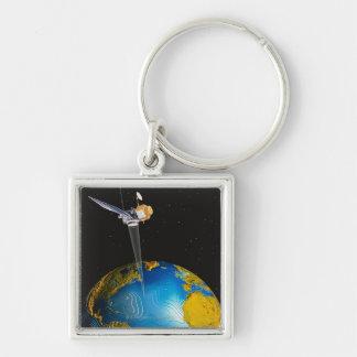 Satellit- Orbiting jord 6 Fyrkantig Silverfärgad Nyckelring