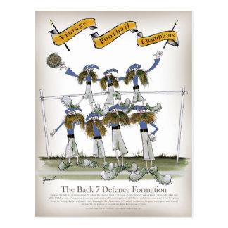 sats för fotbollförsvarareblått vykort