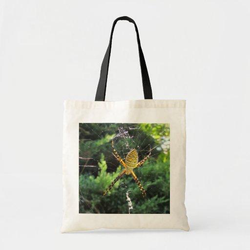 Satt band trädgårds- spindel~ hänger lös tygkassar