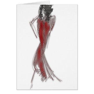 Sätt på din röda klänning hälsningskort