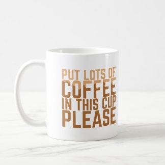 Sätt raddor som kaffe i denna kopp behar vit mugg