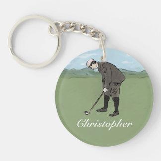 Sätta för golfare för personligvintagestil dubbelsidigt rund akryl nyckelring