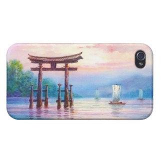 Satta Miyajima Torii och segelbåtjapankonst iPhone 4 Hud