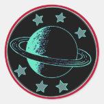 Saturn 6 - runt klistermärke