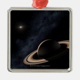 Saturn planet i det sol- systemet, närbild julgransprydnad metall