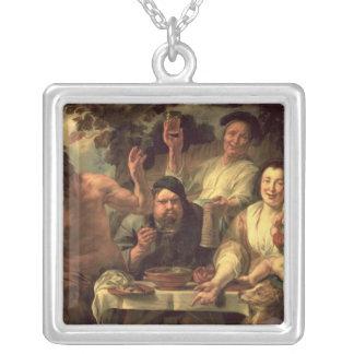 Satyren och bönderna silverpläterat halsband