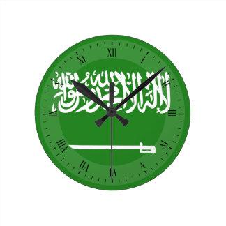 Saudiarabien flagga rund klocka
